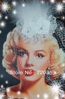 Free shipping!2014 shine Bridal Birdcage white  Veil, Party Headdress, Fascinator long Feather  veil ,Wedding Accessory