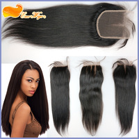 Free shipping straight 3 way part virgin brazilian hair lace closure 4x4inch natural color 120% density