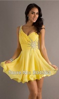 Free Shipping Dazzling Sequin One Shoulder Yellow Short Party Homecoming Dresses