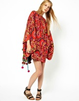 New Arrival Spring and Summer Dress 2014 O-neck Bat Sleeve Casual Beach Red National Character Print Dress S M L