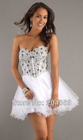 Free Shipping Sparkling Beadwork White Short Party Homecoming Dresses