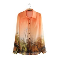 2014 street fashion long-sleeve shirt turn-down collar print orange shirt female