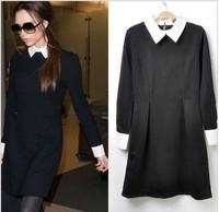 Contrast Collar Long Sleeve Slim Fit Black Dress S M L F3113