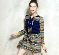 New Fashion Dresses 2014 Long Chiffon Sleeve Single Button Decorated Slim Waist Vintage Dress Wave Striped  Patchwork S M L