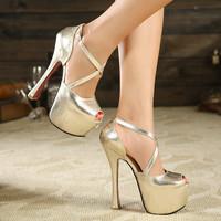 Autumn & Summer Fashion Red Bottom High Heels Shoes Woman Peep Toe Sandals Gladiator Platform Shoes Women Pumps