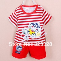 Retail, Free shipping 2014 new fashion Lovely cartoon monkey designs baby boys suits shirt + shorts summer boys clothing set