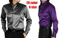 2014 Mens Slim fit High quality silk Long Sleeve Shirts bounce Mens dress Shirts 20 colors, size: S - XXXL