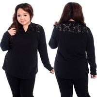 Fat Women Big Size Elegent Lace Winter Clothing Free Shipping Plus Size Clothing Femal Lace Long Sleeve T-shirt 2014 Fashion