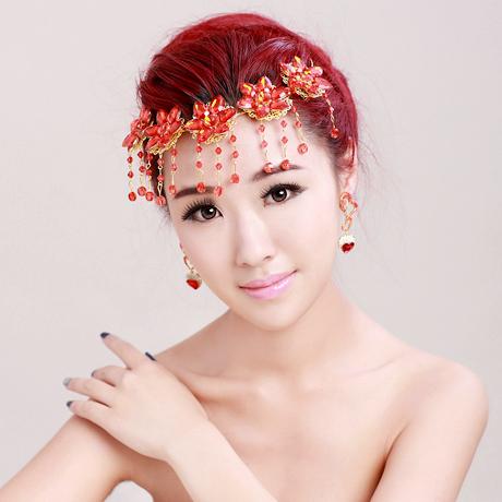 the bride frontlet Chinese cheongsam red flowers rhyme beauty tassel rhinestone tiara hair accessories wedding(China (Mainland))