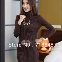 Free shipping  medium-long turtleneck sweater slim hip slim basic sweater female thick black