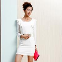 2014 spring formal women's ruffle sleeve slim all-match elegant one-piece dress