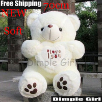 Free Shipping 1pc 70cm White Giant Size Valentines Day I Love You Big Teddy Bears For Sale Birthday Gift Girlfriend Souvenir