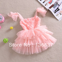 5pcs/lot New 2014 baby girls rose dress children kids tutu princess lace strap dresses clothes for summer dancing clothing