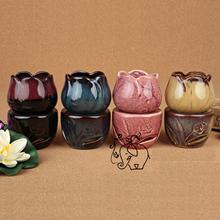 Dia 6.5*13.5cm New Design Color Tulip Design Ceramic Home Fragrance Burner Assuaging Calming Oil Base Home Decoration DC829(China (Mainland))