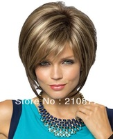 Capless Top Grade Synthetic Mixed Color  Short Straight  Synthetic Hair Women's Wig