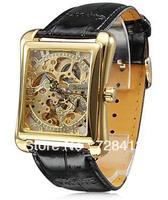 Brand New Luxury Leather Belt Golden Mechanical Auto Wind Hollow Skeleton Casual Dress Gift Analog Wrist Watch,Men's Watch Clock