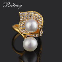 The newest champagne plated fashion ring ,high quality imitation pearl Ring ,fashion Jewelry accessory free shipping  RW046G