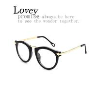 Lovey fashion floral retro metal arrow plain mirror woman round glasses frame unisex eyewear anti radiation quality alloy leg