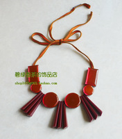 Fashion style mirror gem marni gloss lacing necklace