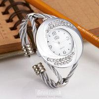 Rhinestone Whirlwind Design Metal Weave Dress Women Girls Bracelet Bangle Watches Wristwatches Siver