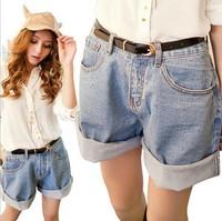 2014 New Korean women jeans shorts roll up loose size high waist Short clothing summer hot denim shorts Dark blue/Light blue
