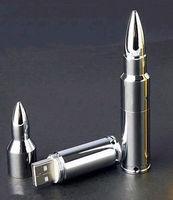 USB 2.0 Silver 8GB Metal Bullet Shape Model Memory Flash Stick Pen Drive