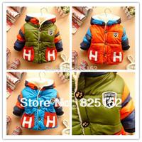 1PCS New Children Coat Warm Winter Jacket Cotton-Padded Jacket Girl Baby Boys Hooded  velvet Outwear 3-36 Months drop shipping