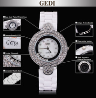 Free shipping Luxury rose gold plated and white ceramic watch women brand name GEDI with full crystal rhinestone charm style