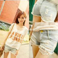 2014 spring and summer women's hole lace decoration denim shorts female