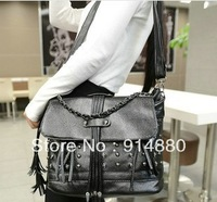 Free Shipping Factory Direct PU Punk Style Tassel & Rivet Element Messenger Bags
