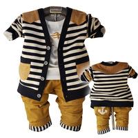 Free shipping2014 new Korean children's clothing spring 0394 three-piece stripe cardiganbaby clothing