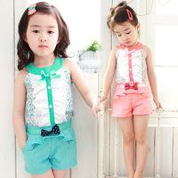 Free shipping2014 Korean girls Korean children's bow pants suit 0241baby clothing
