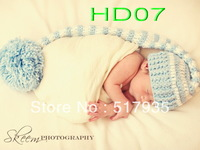 free shipping,Long tailed stripey pixie elf hat with pom pom. Newborn. Photo photography prop