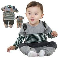 Free shipping[ 2014 ] babyrow Spring 0380 new fashion black and white stripesbaby clothing
