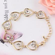 Free shipping New Fashion Hot Sell Women/Girl's 18k Yellow Gold Filled  Heart Bracelet Bangle Gift Jewelry(China (Mainland))