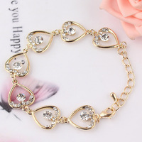 Free shipping New Fashion Hot Sell Women/Girl's 18k Yellow Gold Filled  Heart Bracelet Bangle Gift Jewelry