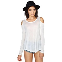 Free Shipping 2014 New Spring Fashion long-sleeved round neck strapless back split dovetail female backing shirt T-shirt