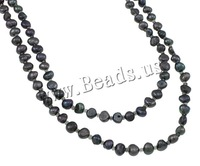 Free shipping!!!Natural Freshwater Pearl Necklace,2013 new fashion, 2-strand, mixed colors, 3-8mm, Length:Approx 66 Inch