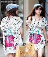 Loose plus size mm short sleeve viscose medium long casual t-shirt female cheapest Meryl  new 2014 summer leisure free shiping