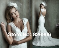 Free shipping HP-03 Elegant Mermaid Deep V Neck Embroidered Appliques Lace Wedding Dresses 2014 Bridal Gown Custom-made