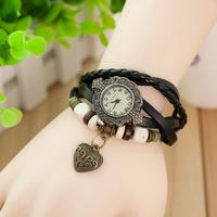 100 pcs Vintage Watches Peach Heart knot Analog Pendant women Dress Watch Hollow Carved Quartz Leather Strap Women Dress watch