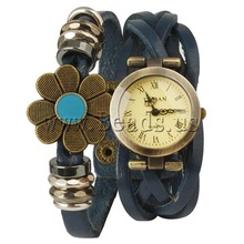 Free shipping!!!Cowhide Watch Bracelet,Wholesale Jewelry, with zinc alloy dial, plated, enamel & 2-strand, blue, nickel