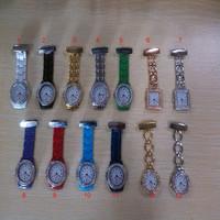 100pcs/lot Silver Golden Diamond Metal Square Round Shape Nurse Doctor Pocket Watch for Nurse Doctor free shipping