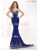 DTZ-18 2014 New Arrival Topsale Sexy Jewel  Bling Bling Beads Crystal Tarik Ediz Evening Dresses