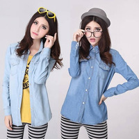 Free Shipping   loose Lapel Denim Shirt  Big yards Sleeve Denim Shirts For Women Fashion  Hot Selling size:S.M,L