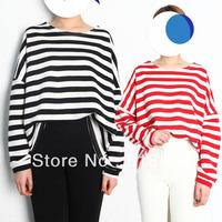 free shipping wholesale Womens Girl Casual Batwing Long Sleeve Irregular Hem Striped Blouse Top T-shirt