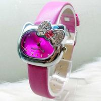 Free Shipping 1pcs  new fashion Hello Kitty leather strap women rhinestone watches fashion quartz dress watches