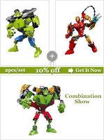 2X Freeshipping Decool  3D Super Hero Factory Iron Man,Hulk building blocks kids robot toys