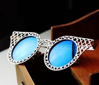 Metal cutout circle women's star sunglasses vintage sunglasses colorful large sunglasses