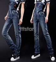 New Stylish Women's Overalls Denim Jeans Suspender Trousers Jumpsuits Dark Blue #SV16206